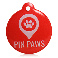Pin Paws Tag Red